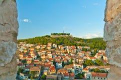 Панорама Sibenik от крепости St Michael Стоковые Фотографии RF