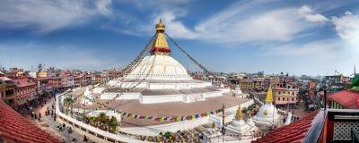 Панорама stupa Bodnath Стоковые Фото