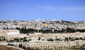 Панорама Temple Mount, мечети Aqsa Al, старого города и t Стоковые Изображения