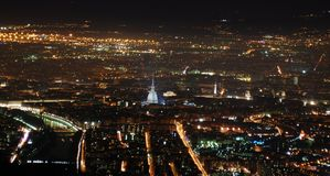панорама torino ночи стоковая фотография