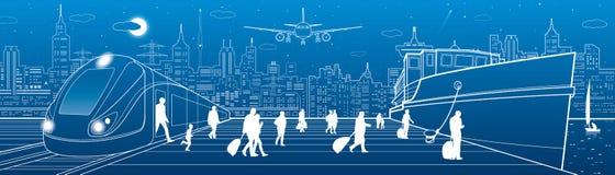 Панорама Transportat Пассажиры идут грузить от поезда Идти людей Транспорт перемещения Сцена городка Город ночи на backgroun Стоковое Изображение