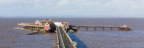Панорама Weston-супер-конематки Сомерсета Англии Великобритании пристани Birnbeck Стоковое Изображение