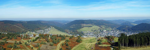 Панорама Willingen в зоне Германии Sauerland Стоковое фото RF