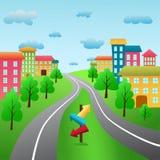 Панорамная иллюстрация городского пейзажа с башнями Стоковые Фото