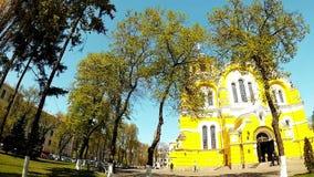 Панорамная стрельба собора ` s St Владимира в Киеве сток-видео