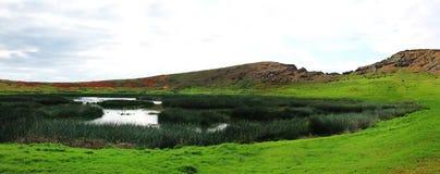 Панорамная сцена кратера Rano Raraku, остров пасхи Чили стоковая фотография rf