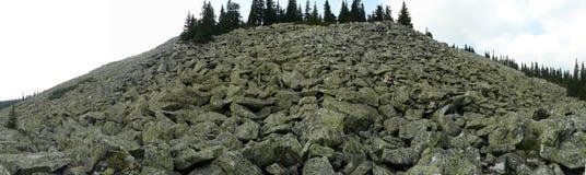 Панорамная съемка гора от обваловки мха валунов стоковое изображение