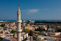 Панорамное визирование городка Родоса старого Стоковое Изображение