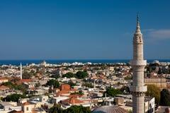 Панорамное визирование городка Родоса старого Стоковые Фото