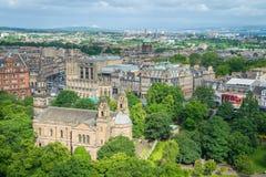 Панорамное визирование от стен замка Эдинбурга, Шотландия стоковое фото