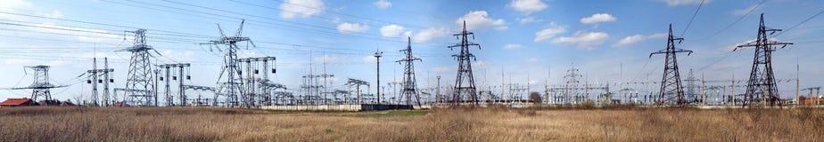 Панорамное изображение высоковольтной подстанции Стоковое Изображение RF