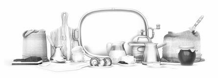 панорамно польза кофе предпосылки готовая Еда натюрморта Белые чашки cof стоковые изображения