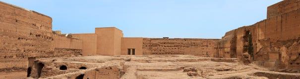 Панорамно стародедовских руин дворца El Badi стоковое фото
