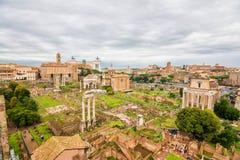 Панорамные взгляды к римским руинам Стоковое фото RF