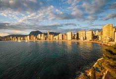 Панорамные взгляды побережья playa Levante, Benidorm, Испании Стоковые Фотографии RF