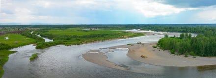 Панорамные взгляды реки Kiya, зоны Kemerovo Стоковая Фотография