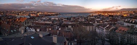 Панорамные городские пейзажи Женевы в Швейцарии стоковые изображения