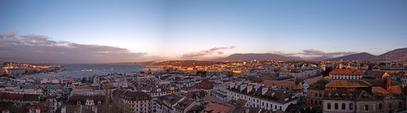 Панорамные городские пейзажи Женевы в Швейцарии стоковое изображение