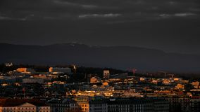 Панорамные городские пейзажи Женевы в Швейцарии стоковые фотографии rf