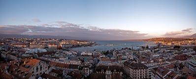 Панорамные городские пейзажи Женевы в Швейцарии стоковая фотография
