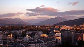Панорамные городские пейзажи Женевы в Швейцарии стоковое фото rf