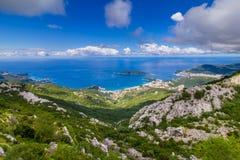 Панорамный ландшафт Budva riviera в Черногории стоковое фото rf