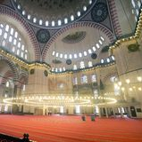 Панорамный взгляд внутри мечети Suleymaniye Стоковое фото RF