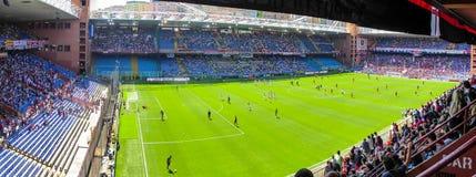 Панорамный взгляд внутри стадиона Luigi Ferraris `, Marassi, в городе Генуи, Италия стоковые изображения