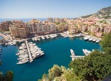 Панорамный взгляд гавани Монте-Карло в Монако стоковые фотографии rf
