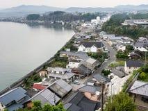 Панорамный взгляд города Kitsuki - префектуры Oita, Японии стоковая фотография