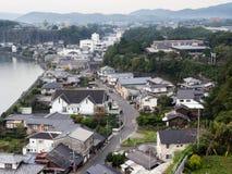 Панорамный взгляд города Kitsuki - префектуры Oita, Японии стоковое изображение