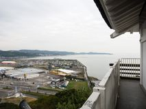Панорамный взгляд города Kitsuki - префектуры Oita, Японии стоковые фотографии rf