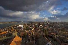 Панорамный взгляд городка Zemun, Белграда, Сербии Стоковые Изображения