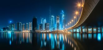 Панорамный взгляд залива дела Дубай, ОАЭ Стоковое Изображение