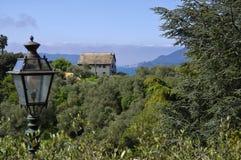 Панорамный взгляд зеленых холмов около Lerici Стоковые Изображения RF