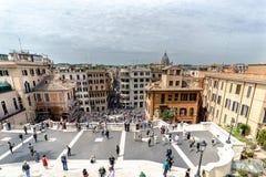 Панорамный взгляд испанских шагов от вызванной лестницы стоковые изображения