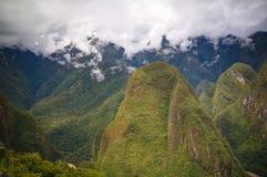 Панорамный взгляд к археологическим раскопкам Machu Picchu с полигональным masonry, Cuzco, Перу Стоковая Фотография RF