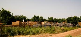 Панорамный взгляд к деревне Bkonni людей Хаусы, Tahoua, Нигера Стоковые Фото