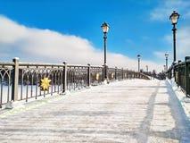 Панорамный взгляд моста в зиме стоковые изображения rf