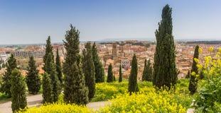 Панорамный взгляд над городом от холма вне Tudela стоковое изображение rf