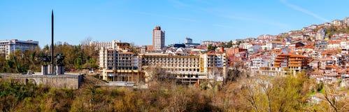 Панорамный взгляд над городом Veliko Tarnovo, Болгария Стоковое фото RF