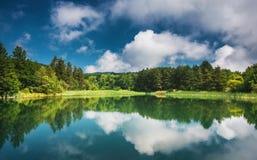 Панорамный взгляд на озере горы стоковая фотография rf
