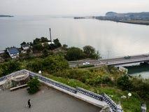 Панорамный взгляд от вершины замка Kitsuki - префектуры Oita, Японии стоковое фото
