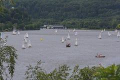 Панорамный взгляд от озера Baldeneysee Baldeney Стоковое Изображение