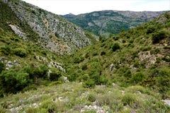 Панорамный взгляд от Сьерры del Penon к горе El Cocoll Стоковая Фотография