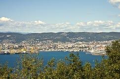 Панорамный взгляд портового района Триеста Стоковые Изображения RF