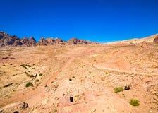 Панорамный взгляд пустыни в Petra Стоковая Фотография RF