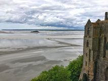 Панорамный взгляд Святого Мишели Mont, Нормандии, Франции Стоковое фото RF