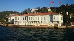 Панорамный взгляд Стамбула Городской пейзаж панорамы известного туристского канала пролива Bosphorus назначения Ландшафт Босфор п стоковое фото