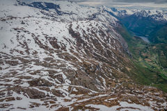 Панорамный взгляд Geirangerfjord от Dalsnibba Стоковое Фото